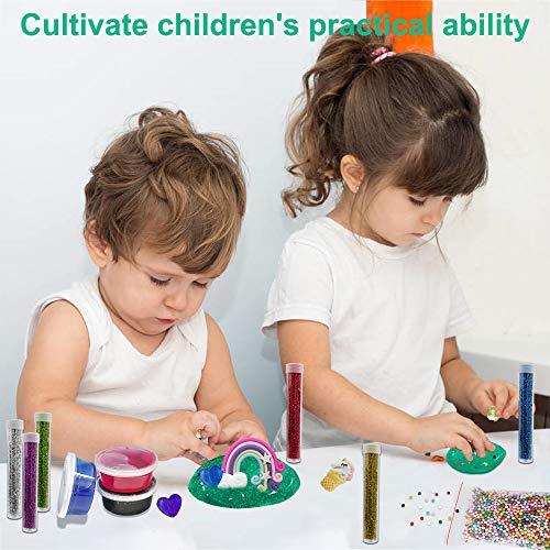 Motiloo DIY Unicorn Crystal Slime, Kit Arts and Crafts Toys for Girls Boys Kids Age 4+ DIY Slime Making Kit Clear Slime Supplies for Kids Art Craft