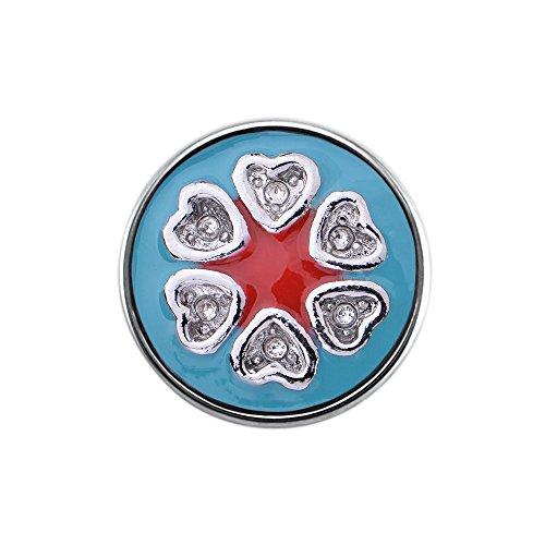 Quiges, Eligo Bijoux 18mm Light Blue Red Bouton Pression Coeurs CZ pour Quiges, Eligo 18mm accrochage Bracelets Button