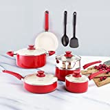 COOKSMARK White Ceramic Nonstick Cookware Set, Aluminum Pots and Pans Set with Steamer Insert and 2 Nylon Cooking Utensils, 12 Piece, Deep Red