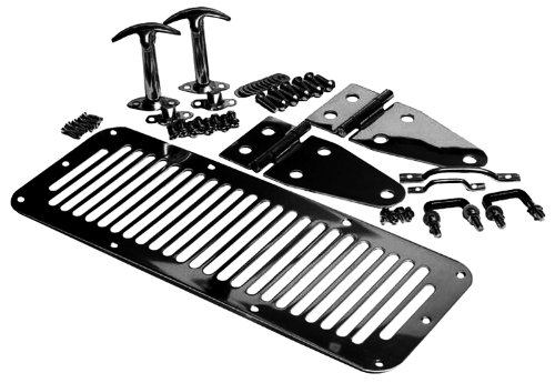 1987 Jeep Wrangler Hood - RAMPAGE PRODUCTS 7699 Black Complete Hood Kit (Hood Stops, Hinges, Vent, Footman Loop & Windshield Tie Downs) for 1978-1995 Jeep CJ & Wrangler YJ