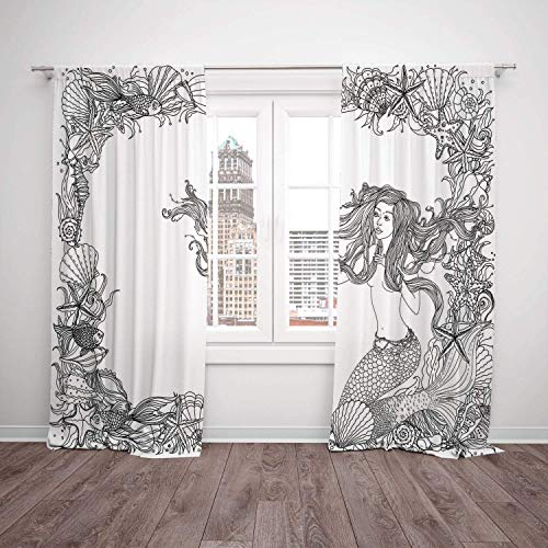 VAMIX 2 Panel Set Satin Window Drapes Kitchen Curtains,Mermaid Mermaid in Artsy Seashells Starfish Coral Reef Frame Ancient Culture Myth Artwork Grey White,for Bedroom Living Room Dorm Kitchen Cafe