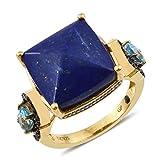 925 Sterling Silver Vermeil Yellow Gold Plated Cushion Lapis Lazuli, Multi Gemstone Ring