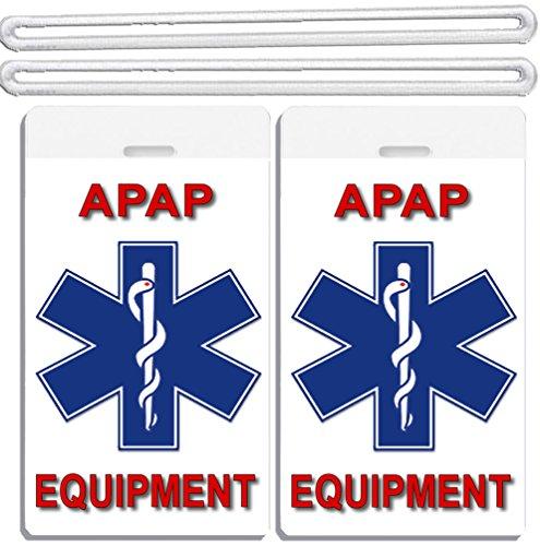 2x Medical APAP Equipment Luggage Tags TSA Carry-On CPAP BiPAP APNEA POC APAP Respiratory Device (Cpap Medical Equipment Carry On Luggage Tag)