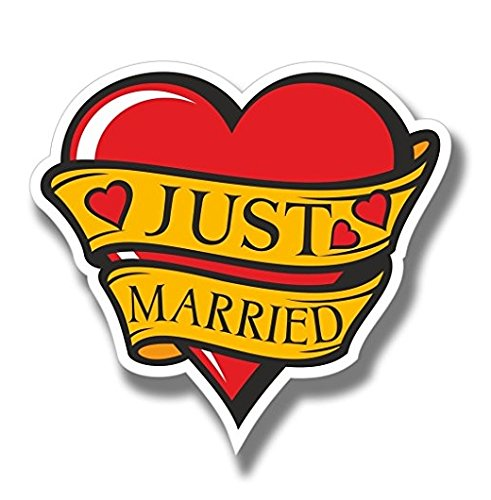 (3 Pack - Just Married Wedding WINDOW CLING STICKER Car Van Campervan Glass - Sticker Graphic - Construction Toolbox, Hardhat, Lunchbox, Helmet, Mechanic, Luggage)