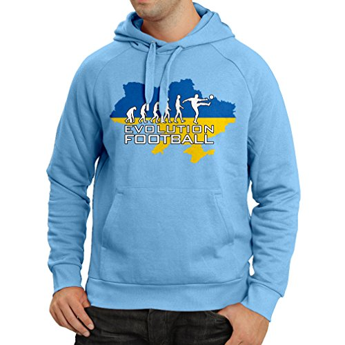 lepni.me Hoodie Evolution Football - Ukraine, Championship, World Cup Soccer Team Fan Shirt (Large Blue Multi Color)