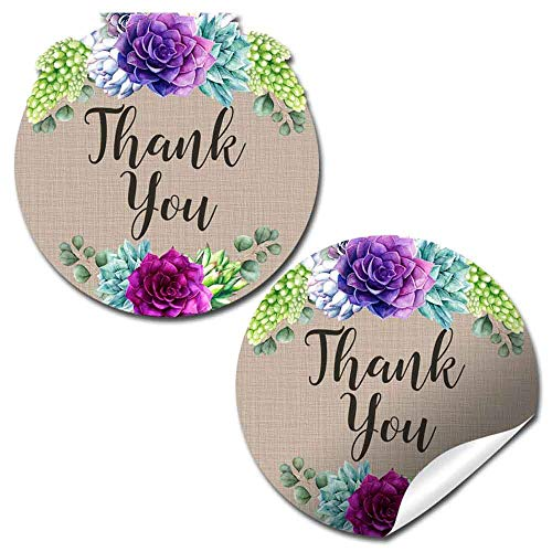 Watercolor Succulents Blue & Purple Floral Baby Sprinkle Baby Shower Thank You Sticker Labels, 40 2