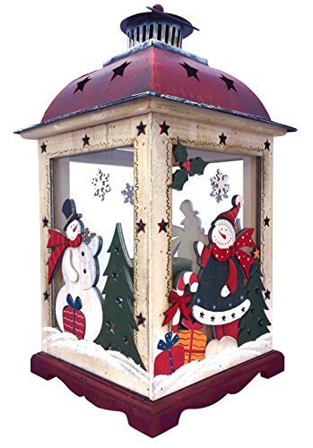 Holiday Lights Snowman (Christmas Snowman Lantern Decoration - Decorative Holiday Table Centerpiece or Hanging Lantern Holder for Pillar Candle or LED Light Indoor Use, by Clovers Garden (16