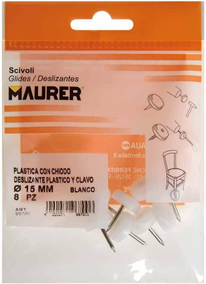 Maurer 5130100 Deslizante Peque/ño Blanco /Ø15 Set de 8 Piezas Blister 8 Unidades