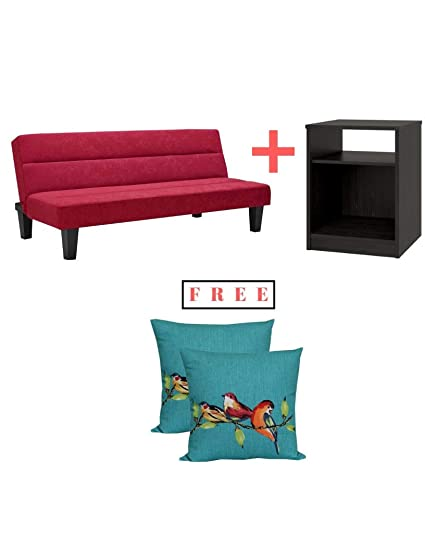 Admirable Kebo Futon Sofa Bed Red Finish With Nightstand Included And Extra Free Ideal For Hanging Out In The Lazy Afternoon Or Catching Some Sleep At Night Gmtry Best Dining Table And Chair Ideas Images Gmtryco