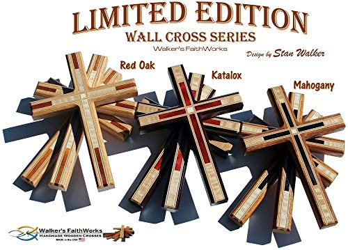 "Decorative 8.5"" Tall Wood Wall Crosses:""Limited Edition Wooden Christian Wall Cross Series"" - USA MADE!"