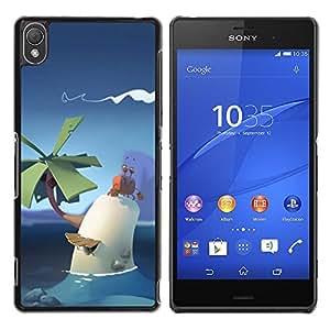 Be Good Phone Accessory // Dura Cáscara cubierta Protectora Caso Carcasa Funda de Protección para Sony Xperia Z3 D6603 / D6633 / D6643 / D6653 / D6616 // poly cute art palm tropical