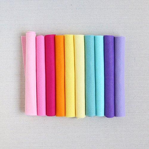 Wool Felt, Pot of Gold, 10 Sheets of Rainbow Wool Blend Felt (12x18 inch Sheets) ()