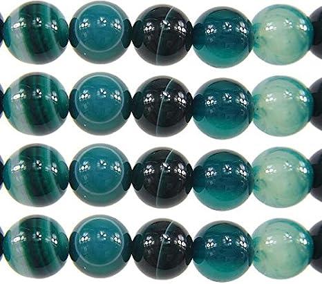 Tira de piedras preciosas naturales, perlas de ágata, 8 mm, 6 mm, color verde, forma de bola, para joyas, pulseras, cadenas, manualidades, fabricación de joyas, piedra, verde y blanco, 6mm 18 Stück