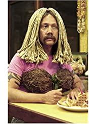 50 First Dates (2004) 8 inch by 10 inch PHOTOGRAPH Rob Schneider from Chest Up Wearing Mop Wig & Coconut Bra kn