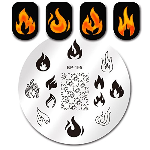 Flames Templates (BORN PRETTY Nail Art Stamping Template Flame Fire Passion Style for Winter Manicure Print Image Plate)