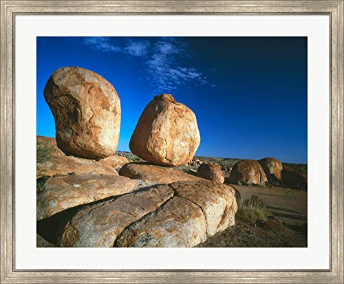 - Rocks on an arid Landscape, Devil's Marbles, Northern Territory, Australia Framed Art Print Wall Picture, Silver Scoop Frame, 40 x 33 inches
