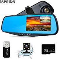Dash Cam 1080P Full HD 4.3 LCD Rearview Mirror Car Video Recorder Dual Lens Vehicle Camera Car DVR Road Dash Cam with Night Vision Motion Detection USB cable with 16GB C10 Micro SD Card