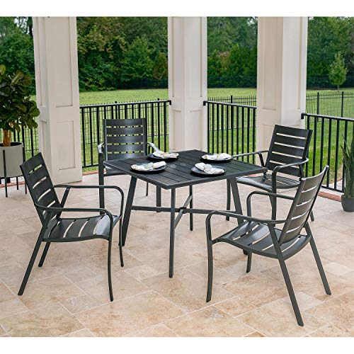Hanover CORTDN5PCS Cortino 5-Piece Grade Patio Dining Set Commercial Outdoor Furniture, Gunmetal
