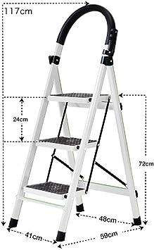 Escalera plegable, escalera de 3 peldaños, escaleras plegables, acero resistente, taburete multiusos, escalones de cocina, alfombrilla antideslizante y agarre de mano de goma, blanco: Amazon.es: Bricolaje y herramientas