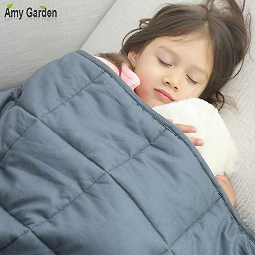 Amy Garden 7 Layers Boys & Girls 100% Cotton Preminum Weighted Blanket (36x48 Inch, 5 lbs for 40-70 lbs Individual, Grey) | 2.0 Kids Heavy Blanket ()