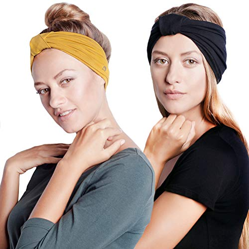 BLOM Original Headband Two Pack. 6″ Multi Style Design for Yoga Workout Running Athletic. Wear Wide Turban Knotted. Ethically Made in Bali.