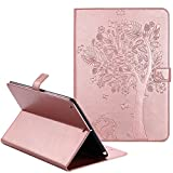New iPad 9 7 Inch Case 2017,Akristal PU Leather Flip Folio Smart Cover with Auto Sleep / Wake Adjustable Stand Wallet Case Cover for New iPad 9.7 Inch 2017,Rose Gold