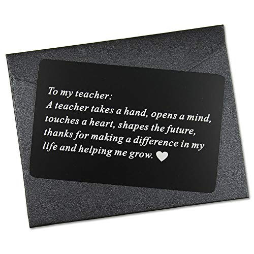 Vanfeis Engraved Metal Wallet Mini Love Note Insert Card - Perfect Teacher Appreciation Gifts for Birthday, Christmas, Graduation - Best Teacher Ever Gift Ideas, Unique New School Teachers -