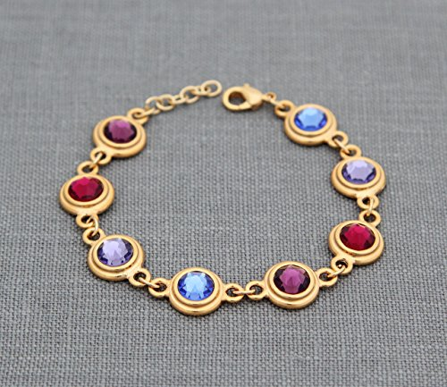 Mom Birthstone Bracelet, Personalized Grandma Gifts in Gold, Custom Family Jewelry