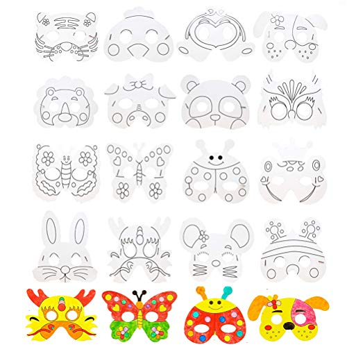 SUSHAFEN 16Pcs Kids DIY Graffiti Masks Children Paper Masks to Decorate Bulk DIY Animal Craft Mask for Parties/Cosplay/Halloween/Kids' Hand Painting Art Crafts,16 Designs -