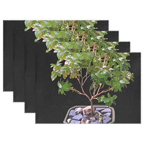Myrtle Bonsai - QYUESHANG Bonsai Myrtle Tree Placemats Set Of 4 Heat Insulation Stain Resistant For Dining Table Durable Non-slip Kitchen Table Place Mats