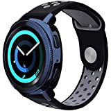 VIGOSS Gear Sport Band/Gear S2 Classic Bands (NOT for GEAR S2) 20mm Soft Silicone Watch Band Replacement Strap Fitness Wristband for Samsung Gear Sport Smartwatch (Black/Grey, Small/Medium)