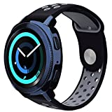 Gear Sport Band / Gear S2 Classic Bands - VIGOSS 20mm Soft Silicone Watch Band Breathable Replacement Strap Fitness Wristband for Samsung Gear Sport Smartwatch Women Men(Black/Grey)
