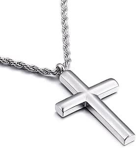 Molike Simple Stainless Steel Cross Pendant Necklace Men Women, 20''-24'' Twist Rope Chain