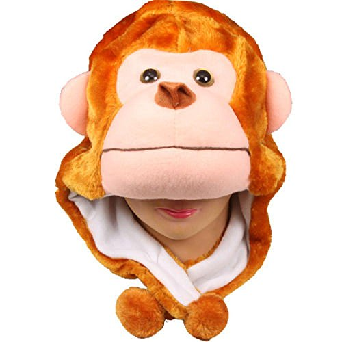 Monkey_(US Seller)Warm Hat Short Flaps Winter Fluffy Plush Gift Beanie