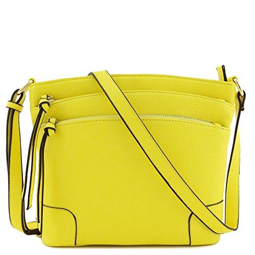 (Triple Zipper Pocket Medium Crossbody Bag (Yellow))