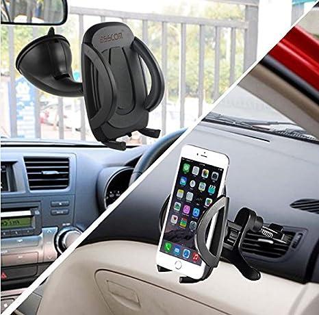 Soporte de coche, 2-in-1 Mobile Phone Car Mount, handy-soporte Asscom, Cradle - Universal Fit - seguro móvil/GPS, para parabrisas-coche-soporte de ...