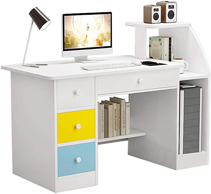 Computer Desk Home Office Desks with Shelf, Student Study Desktop Desk Laptop Table Modern PC Workstation Dormitory Study Desk with Bottom Storage Shelves and Drawer