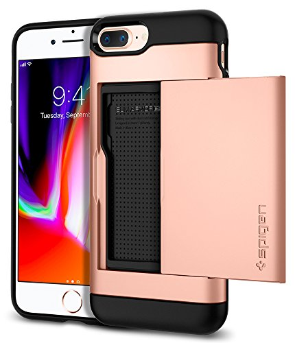 Large Product Image of Spigen Slim Armor CS iPhone 8 Plus Case/iPhone 7 Plus Case with Slim Dual Layer Wallet Design and Card Slot Holder for Apple iPhone 8 Plus (2017)/iPhone 7 Plus (2016) - Blush Gold