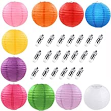 Evesun 10 Packs 12 Inch Round Paper Lanterns Foldable Lamp + 20 Pack White LED Party Lights Light for Birthday Wedding Party Decorations Crafts DIY Painting Parent-child Games (Multicolor 12 inch)
