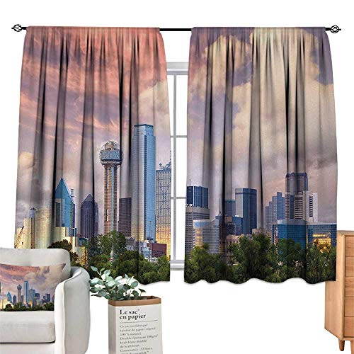 Warm Family Insulated Sunshade Curtain United States,Dallas City Skyline at Sunset Clouds Texas Highrise Skyscrapers Landmark,Multicolor for Living, Dining, Bedroom (Pair) 63