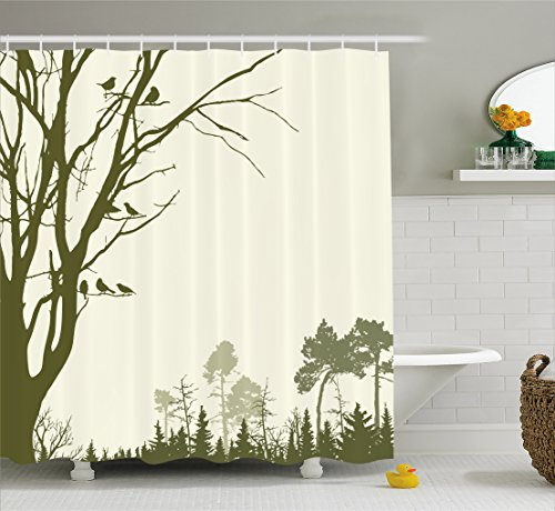 wer Curtain, Nature Theme The Panorama of a Forest Pattern Birds on Tree Branches Print, Fabric Bathroom Decor Set with Hooks, 70 inches, Olive Green Cream ()