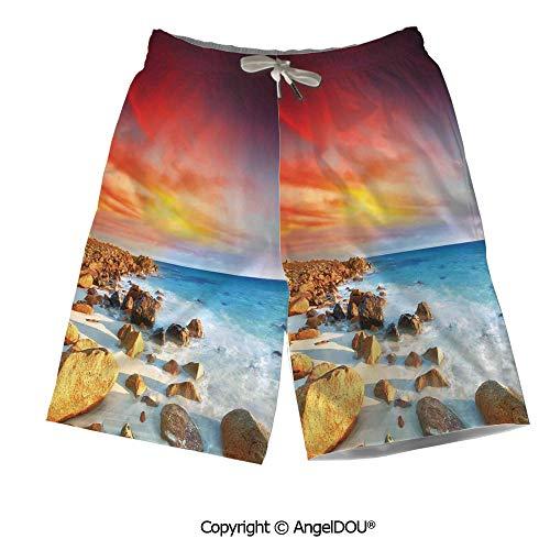 AngelDOU Men Short Swim Trunks Quick Dry Printed,Country