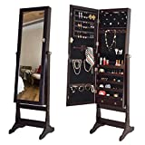 Giantex Mirrored Jewelry Cabinet Free Standing Lockable Armoire Organizer Holder with Storage Drawer Full Length Floor Tilting, with LED Lights, Brown
