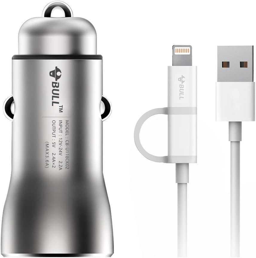 BULL Dual USB Car Charger with 3ft 2 in