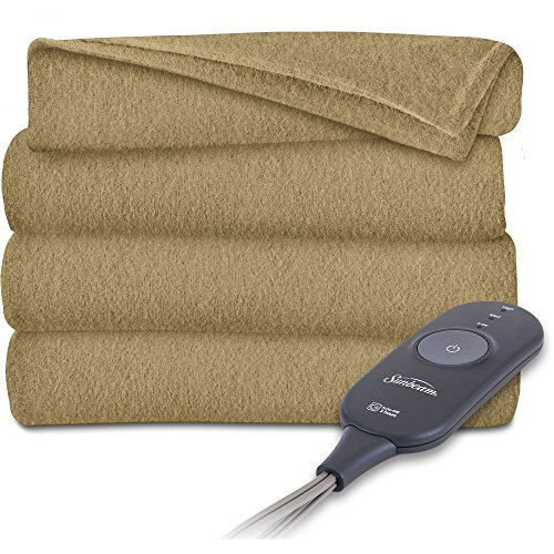 Sunbeam Fleece Heated Electric Warming Throw Blanket Brown Acorn 50 x - Throw Warming Electric Heated Fleece