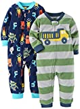 Carter's Baby Boys' 2-Pack Fleece Footless Pajamas, Monster/Truck, 18 Months