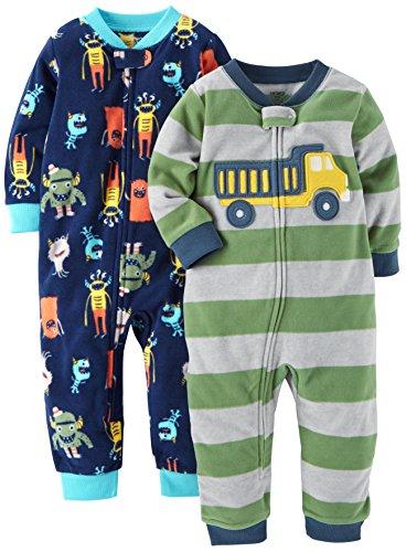 Carter's Baby Boys' 2-Pack Fleece Footless Pajamas, Monster/Truck, 18 Months (Boys Fleece Baby)