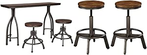 Signature Design by Ashley Odium Counter Height Dining Room Table and Bar Stools (Set of 3), Rustic Brown & Torjin Adjustable Height Bar Stool, Brown/Gray