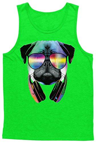 Blittzen Mens Tank Top Pug Sunglasses Headphones, 2XL, Lime - Dubstep Sunglasses
