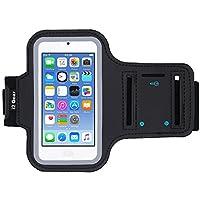 Brazalete de ejercicios para correr i2 Gear para dispositivos de iPod Touch de 6ta y 5ta generación con borde reflectante y soporte para llaves (negro)
